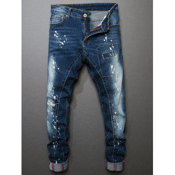 Painted Stitched Slim Fit Jeans