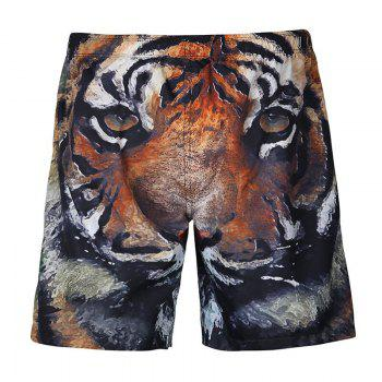 Drawstring 3D Tiger Print Shorts
