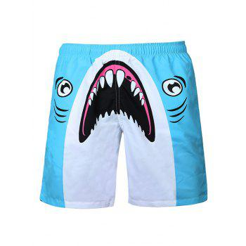 Shark Printed Drawstring Board Shorts