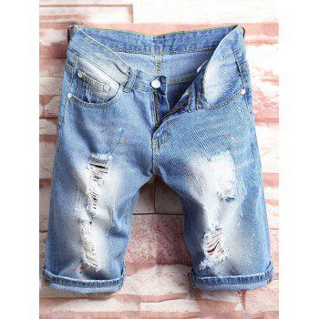 Colored Painted Distressed Denim Shorts