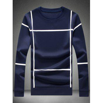 Long Sleeve Crew Neck Grid T-Shirt