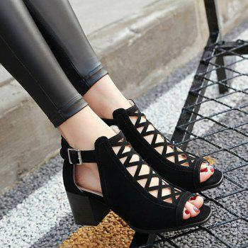 Chunky Heel Hollow Out Sandals