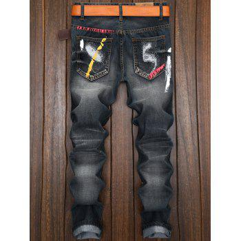 Color Painted Ripped Jeans - BLACK 38