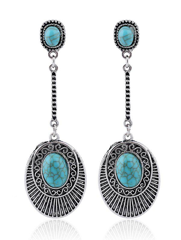 Faux Turquoise Drop Earrings - SILVER