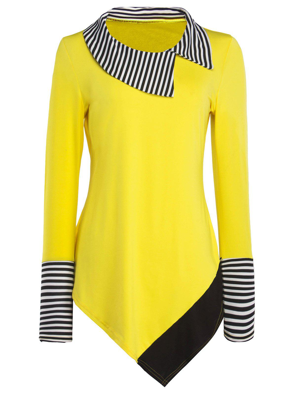 Striped Hem Asymmetric Long T-Shirt - YELLOW XL