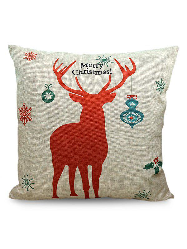 Merry Christmas Deer Printed Linen Sofa Cushion Pillow Case printing colorful round pattern linen sofa cushion pillow case
