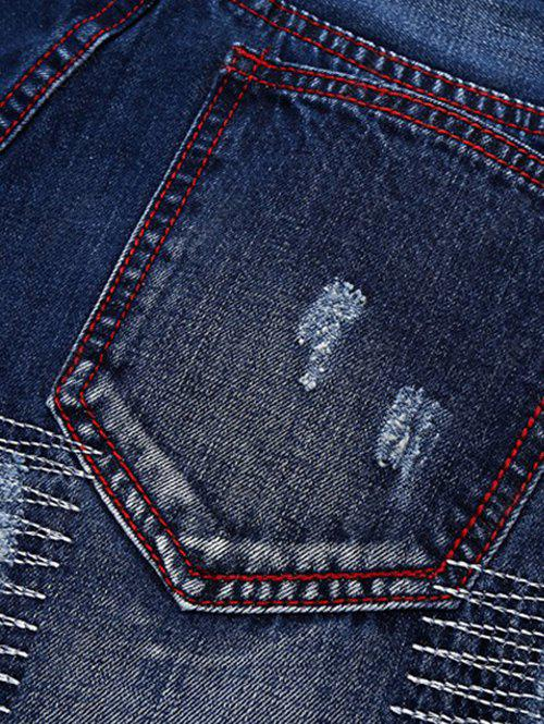 Ripped and Repaired Jeans - DENIM BLUE 34