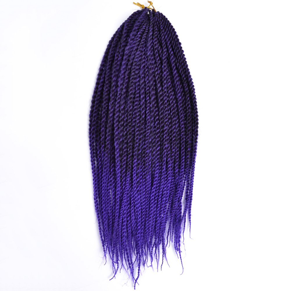 Synthetic Long Senegal Twists Hair Extension - BLACK/PURPLE 18INCH
