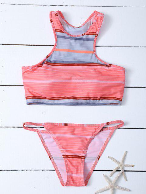 Stripe Racer Retour rembourrée Tankini Set - Orange Rose S