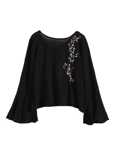 Linen Bell Sleeve Embroidered  Blouse - BLACK S