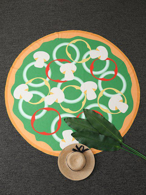 Mushroom Pizza Print Round Beach Throw - GREEN ONE SIZE