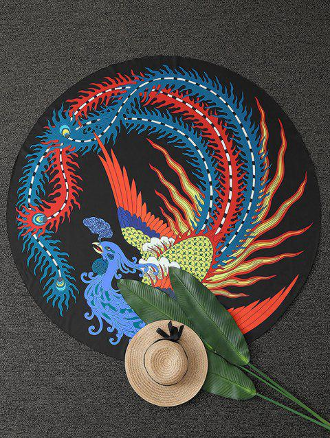 Chinese Ancient Phoenix Print Round Beach Throw - COLORMIX ONE SIZE