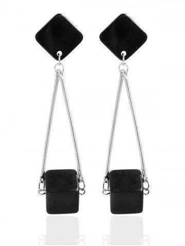 Cube Faux Gem Drop Earrings