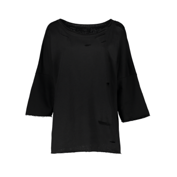 Long Sleeve Sloping Shoulder Ripped Sweatshirt - BLACK L