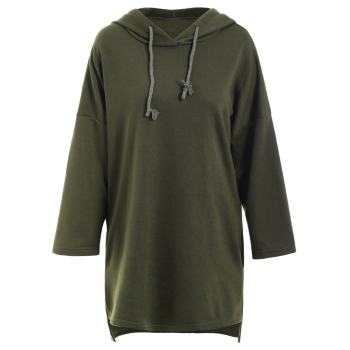 Sweat à Capuche Long Épaules Tombantes - Vert M