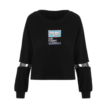Crew Neck Print Patched Graphic Sweatshirt - ONE SIZE ONE SIZE