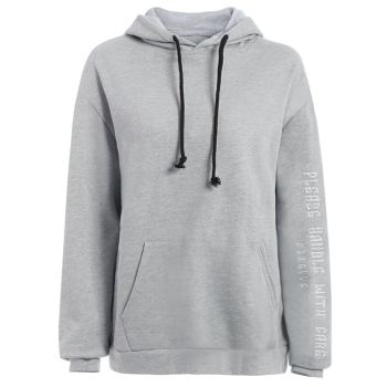 Front Pocket Embroidered Hoodie - GRAY GRAY