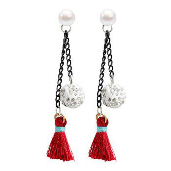 Rhinestoned Ball Faux Pearl Tassel Drop Earrings
