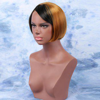 Women's Stunning Ombre Color Short Straight Side Bang Synthetic Wig - COLORMIX