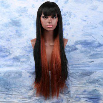 Mixed Color Long Yaki Straight Full Bang Ladylike Synthetic Wig For Women