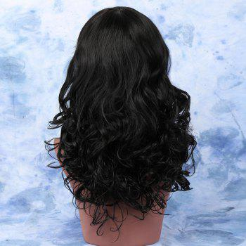 Black Long Wavy Full Bang Simple Synthetic Wig For Women - BLACK