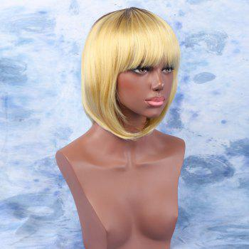 Mixed Color Stunning Women's Short Straight Full Bang Synthetic Wig - COLORMIX