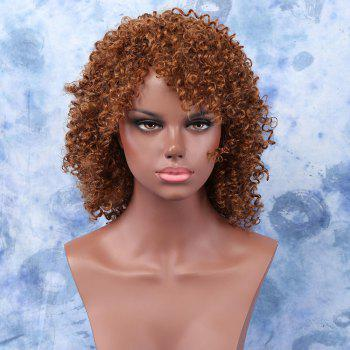 Women's Light Brown Medium Afro Curly Stylish Synthetic Hair Wig