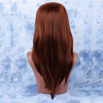 Palm Red Mixed Long Full Bang Straight Stylish Synthetic Hair Wig - COLORMIX