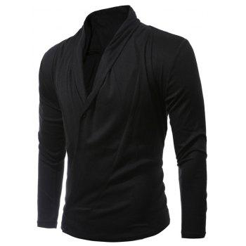 Shawl Collar Asymmetrical Cardigan