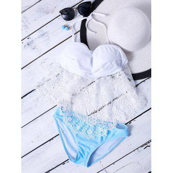 Lace Panel Halter Push Up Bikini Set