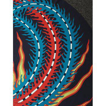 Chinese Ancient Phoenix Print Round Beach Throw - COLORMIX COLORMIX