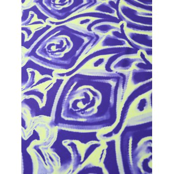 Floral Oil Painting Print Round Beach Throw - BLUE VIOLET ONE SIZE