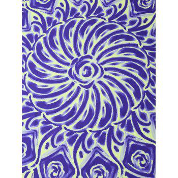 Floral Oil Painting Print Round Beach Throw - BLUE VIOLET BLUE VIOLET