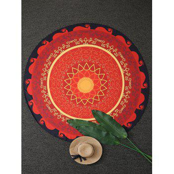 Vintage Mandala Flower Print Round Beach Throw