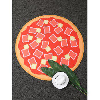 Hot Dog Pizza Print Round Beach Throw