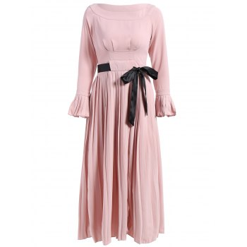 Boat Neck Flare Sleeve Pleated Dress
