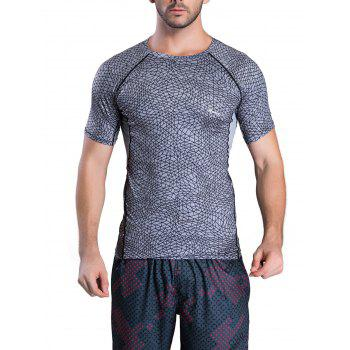 Irregular Grid Pattern Short Sleeve Quick-Dry T-Shirt