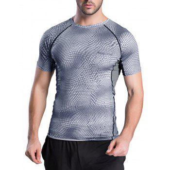Snakeskin Pattern Short Sleeve Round Neck Quick-Dry T-Shirt