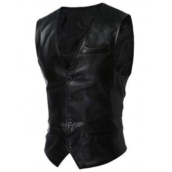 V Neck Faux cuir Waistcoat
