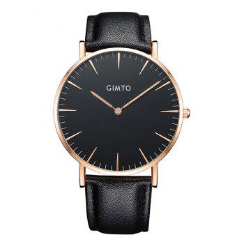 GIMTO Faux Leather Band Wrist Watch - BLACK BLACK