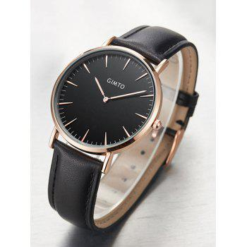 GIMTO Faux Leather Band Wrist Watch -  BLACK