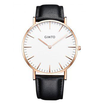 GIMTO Faux Leather Band Wrist Watch - WHITE AND BLACK WHITE/BLACK