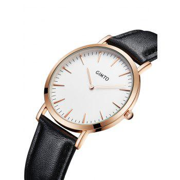 GIMTO Faux Leather Band Wrist Watch -  WHITE/BLACK