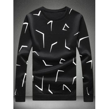 Scattered Printed Crew Neck Tee - BLACK 3XL