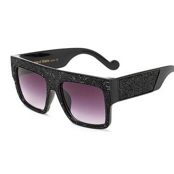 Mirrored Oversize Rhinestone Embellished Wide Frame Sunglasses