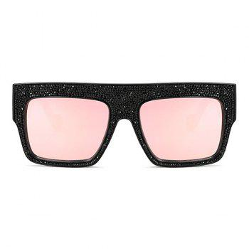 Mirrored Oversize Rhinestone Embellished Wide Frame Sunglasses -  LIGHT PINK