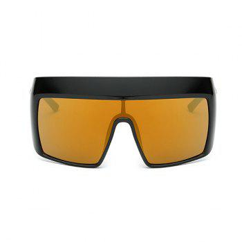 Windbreak Oversize Wrap Frame Reflective Sunglasses -  TYRANT GOLD