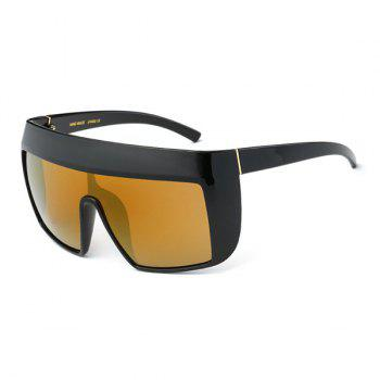 Windbreak Oversize Wrap Frame Reflective Sunglasses - TYRANT GOLD TYRANT GOLD