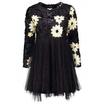 Flower Multilayered Mesh Insert Mini Dress