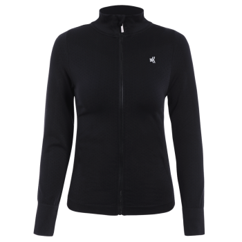 Zip Up Slimming Sporty Running Jacket - BLACK BLACK